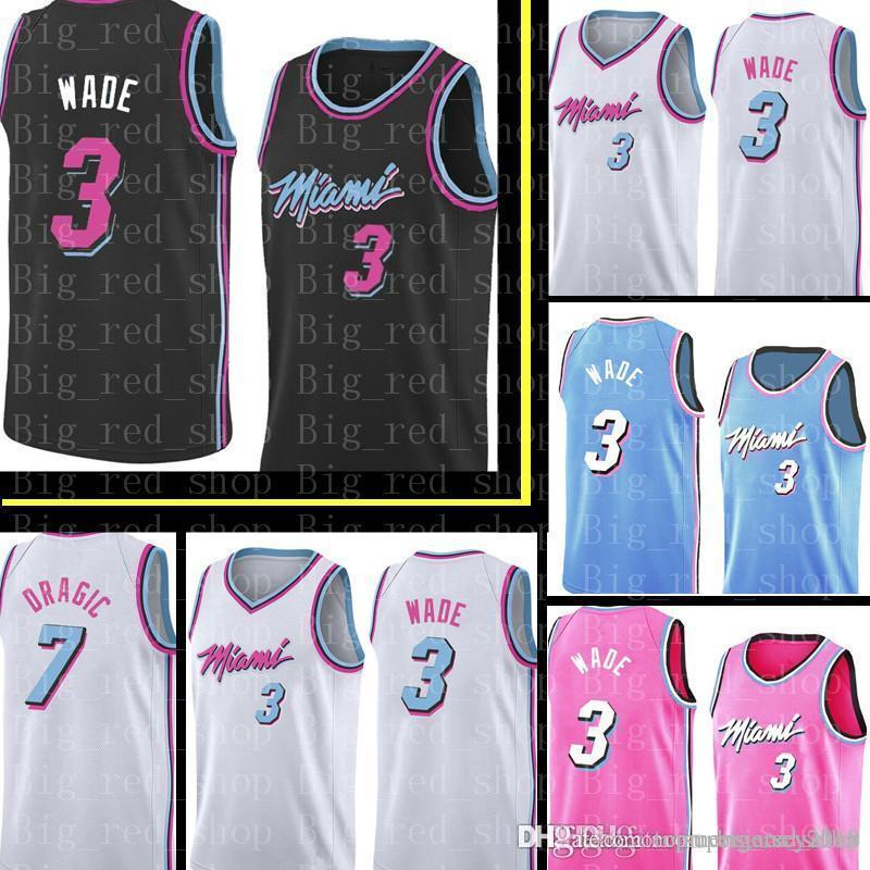 super popular 08455 96842 Heat Dwyane 3 Wade Black White City Jersey New HASSAN 21 WHITESIDE GORAN 7  DRAGIC Embroidery Basketball Jerseys Cheap sales