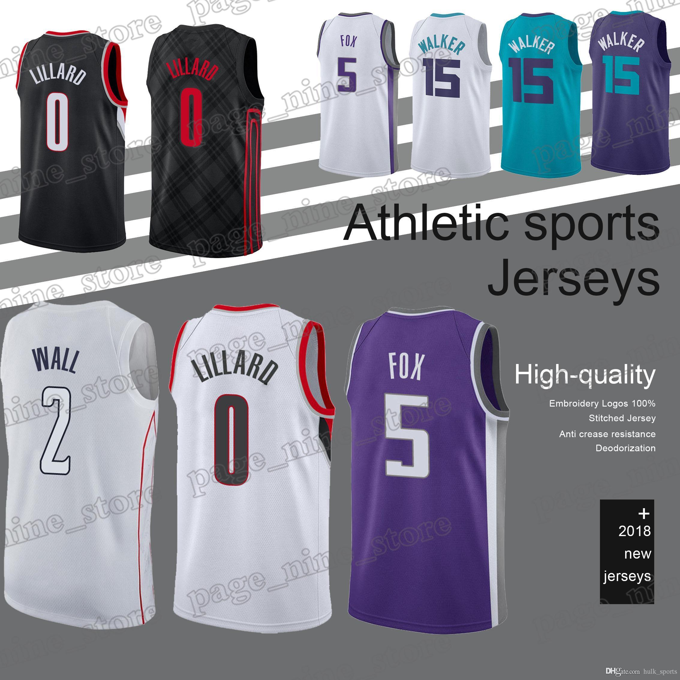 finest selection 12f3f 34439 Charlotte jerseys Hornets 35 Bagley III 5 Fox 15 Walker jersey 2 Wall 0  Lillard Hot sale basketball jerseys