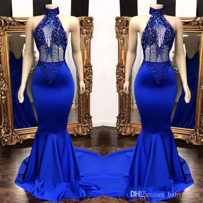 b1f6e6bfac Acheter Populaire Bleu Royal Robes De Bal À Col Haut Real Photos 2019  Sirène Voir À Travers Des Perles Paillettes Top Satin Longues Robes De  Soirée De ...