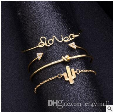 Love letter bangle sets world map knot arrows cactus set with diamond pine hands braided rope bracelets 481