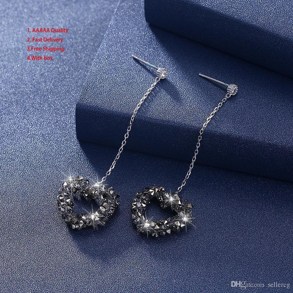 4717ca23a1c3 Joyas de plata Swarovski Mujeres Sve285 grandes aros Rhinestones zafiro  araña pendientes