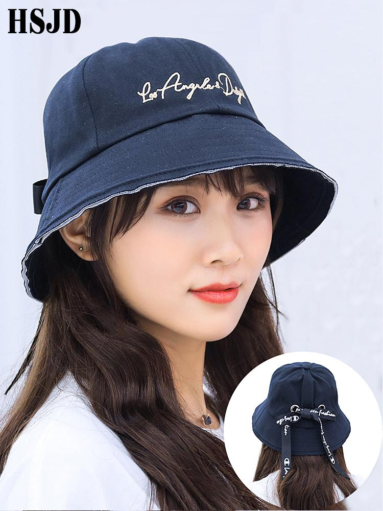 2019 New Fashion Women Ribbon Letter Sun Bucket Cap Hip Hop Cap Wide Brim Flat Top Sun Hat Summer Female