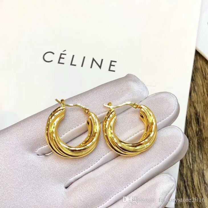 Luxury Designer Gold Circle Earrings 2019 New Hot Gold Earrings for Women Jewelry with Original Box Packing
