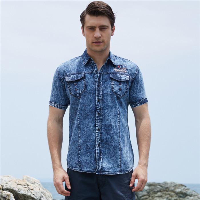 quality design 57a04 09da9 Moda Uomo Camicia di jeans Manica corta Taglie forti Jeans in cotone  Cardigan Camicie casual slim fit Uomo due tasche Tops Abbigliamento, FM093