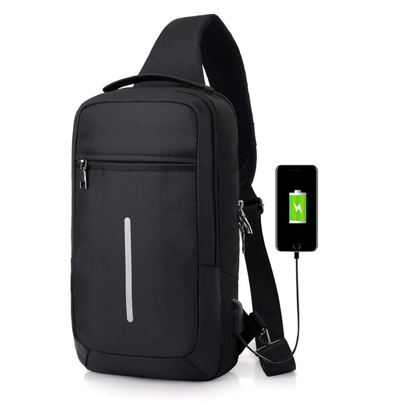 f9d7ec7e3d2 Htnbo 2019 Versatile Nylon Sling Bags Chest Bag For Men Usb Charging  Crossbody Men s Bag Casual Travel Shoulder Handbags Bolsas