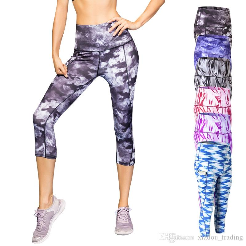 7e0bec8d5f7b1 2019 Women Fitness Capri Pants High Waist Yoga Pants Workout Sport Running  Jogging Tights Trousers Side Inner Pockets Leggings From Xiadou_trading, ...