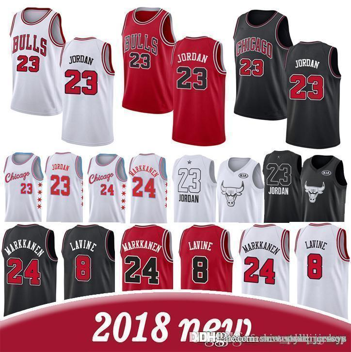 bd925ad67953 2019 LaVine Chicago Men Bulls Retro Jeresys 23 Michael Zach 8 LaVine ...