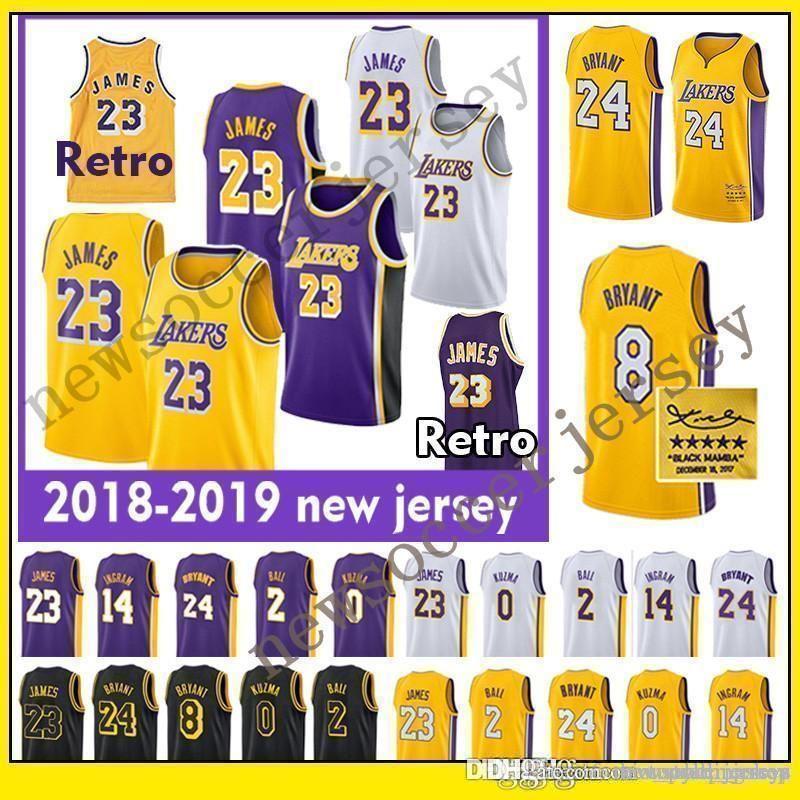 online retailer 9b933 447de LeBron jerseys 2019 Los Angeles 23 LeBron Laker James Lonzo 2 Ball Kyle 0  Kuzma Kobe 24 Bryant Laker Basketball Jersey Kobe