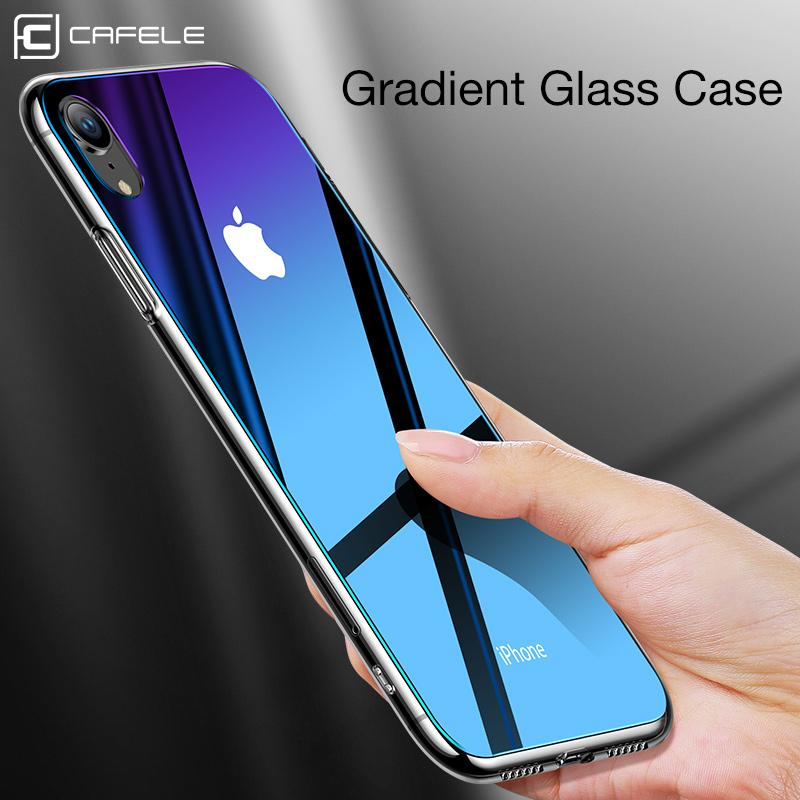 watch 178f2 9836b CAFELE Gradient Glass Case for iphone X Xr Xs Max TPU edge glass Back  Protect Skin Ultra Thin Phone Cover for iphone X Xr Xs Max