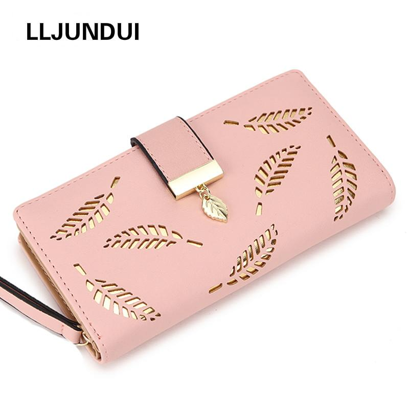 cba268e4d6f0 2019 Women Wallet Purse Female Long Wallet Gold Hollow Leaves Pouch Handbag  For Women Coin Purse Card Holders Portefeuille Femme