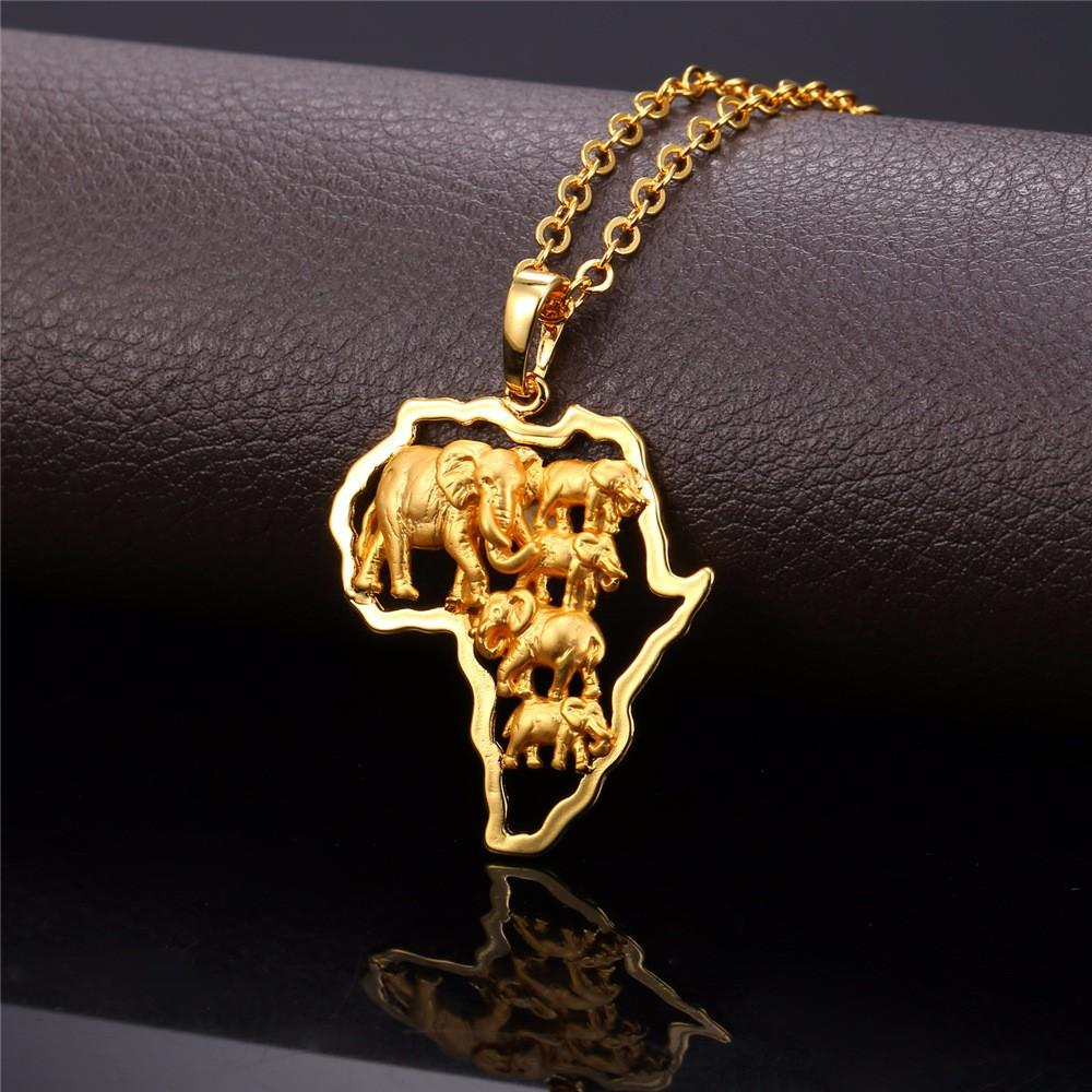 Gold Color Africa Elephant Necklace For Men/Women Fashion African Map Pendant & Chain Hiphop Animal Jewelry Party P773