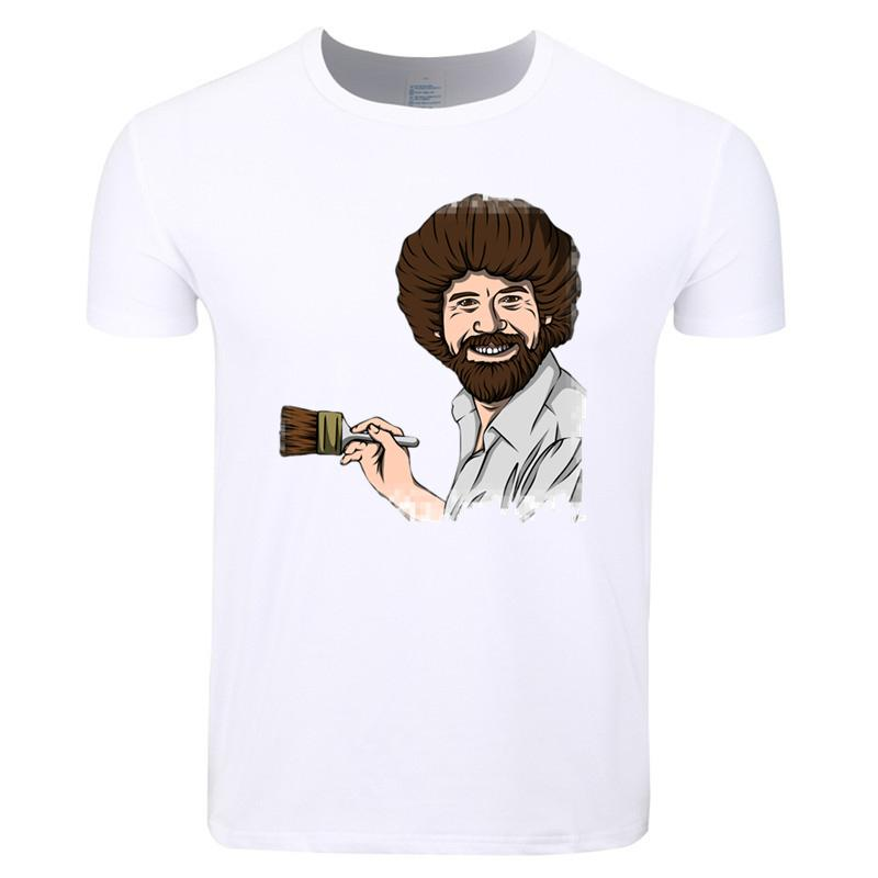 0ef27464f Asian Size Men And Women Print Bob Ross Happy Trees Fashion T Shirt Summer  Casual O Neck Short Sleeve Tshirt Hcp4363 Make Your Own Tee Shirt Design  Crazy T ...