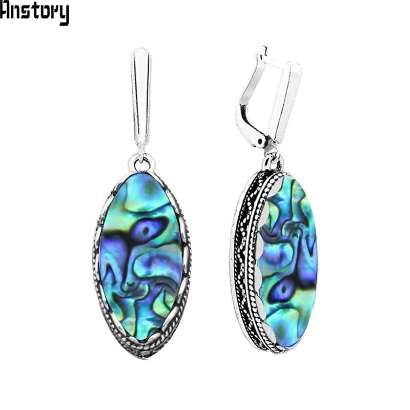 earrings for Eye Shape Pendant Shell Earrings For Women Vintage Antique Silver Plated Double Layer Fashion Jewelry