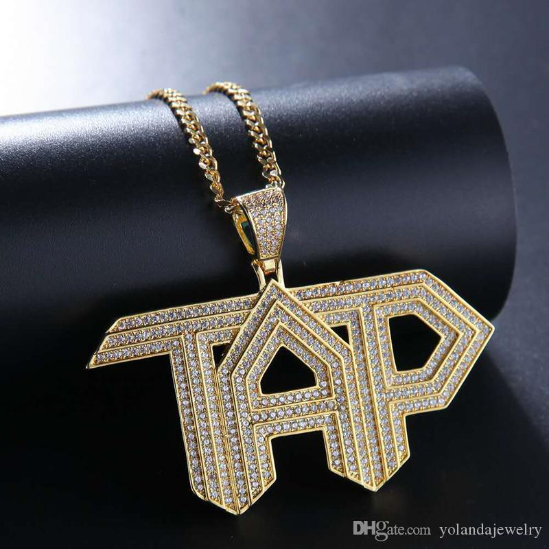 Men Women Fashion Hip Hop Necklace Yellow White Gold Plated CZ TAP Pendant Necklace for Men Women Nice Gift with Cuban Chain