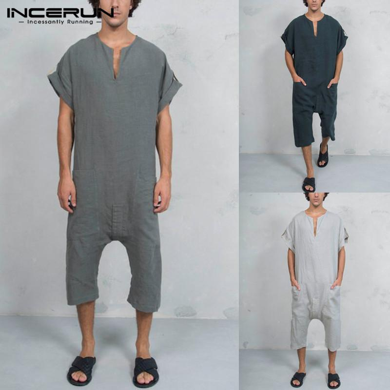 af8e093a8299 2019 INCERUN Vintage Mens Pants Rompers Cotton Pockets Jumpsuit Casual Calf  Length Trousers Men 2019 Overalls Muslim Islamic Clothes From Bigseaa