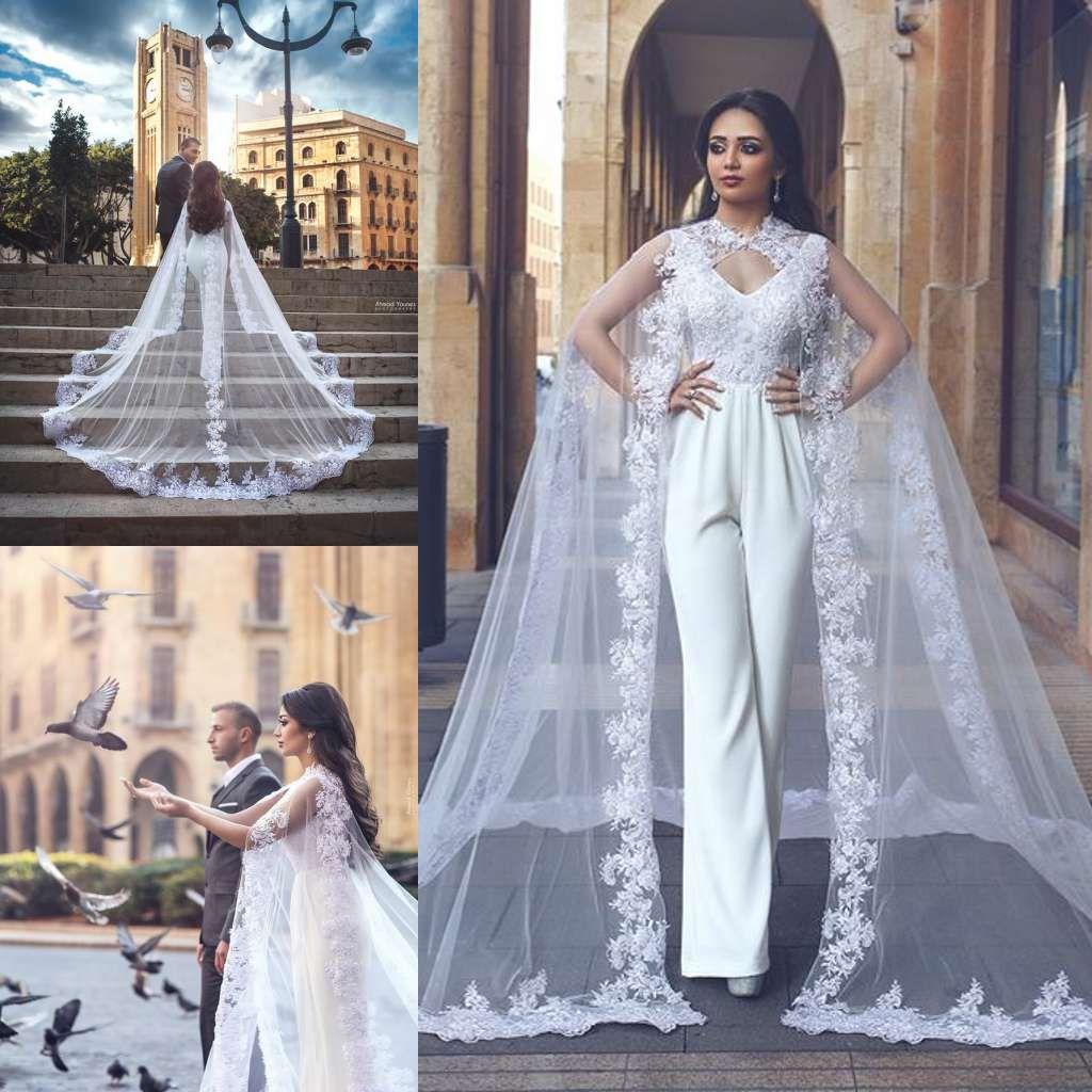95b2c67d060c Acquista 2019 New Fashion Abiti Da Sposa Con Impacchi Pantaloni Con Scollo  AV In Pizzo Tute Dubai Arabo Abiti Da Sposa Plus Size Abiti Da Noiva A   150.25 ...