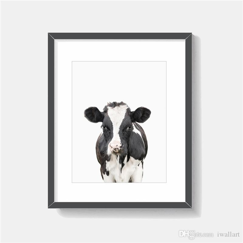The Cow Portrait animal Minimalist Art Canvas Painting HD Wall Picture Poster And Print Decorative Home Decor