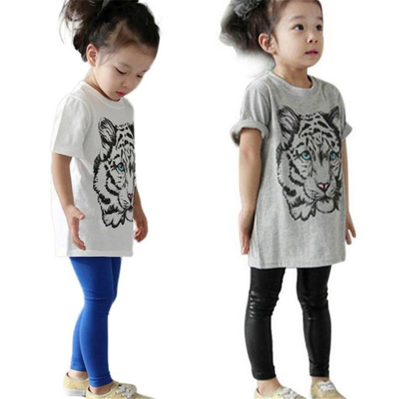 Summer Baby Girls Boys T-Shirt Tiger Head Design Short Sleeve Tops Cute T-Shirt Clothes NDA84L17