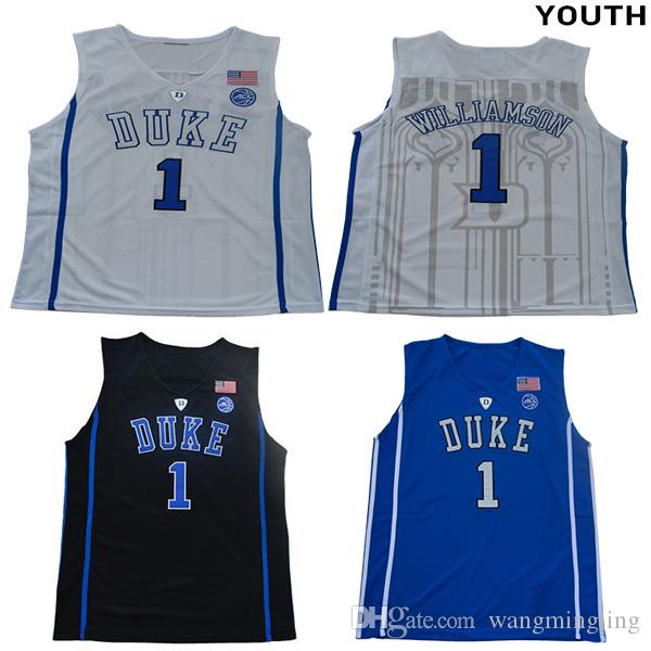superior quality 810f7 61e19 Youth #1 Zion Williamson college Duke Blue Devils jerseys white black blue  kids boys size basketball jersey stitched free shipping
