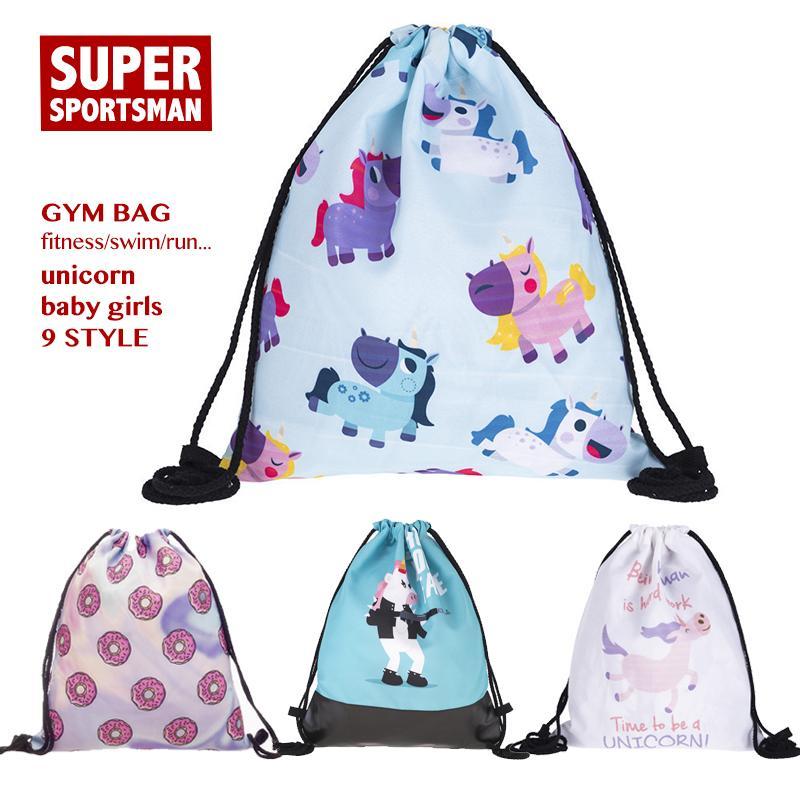 114e3c62dc9 Cartoon Unicorn Fitness Gym Sports Bag for Men Women Children Girl ...