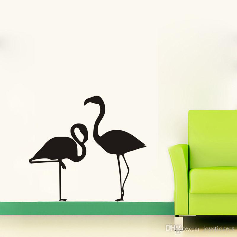 Elegent Two Flamingoes Wall Stickers Home Decor Living Room Sofa Background Wall Art Decals Baby Nursery Wall Tattoo