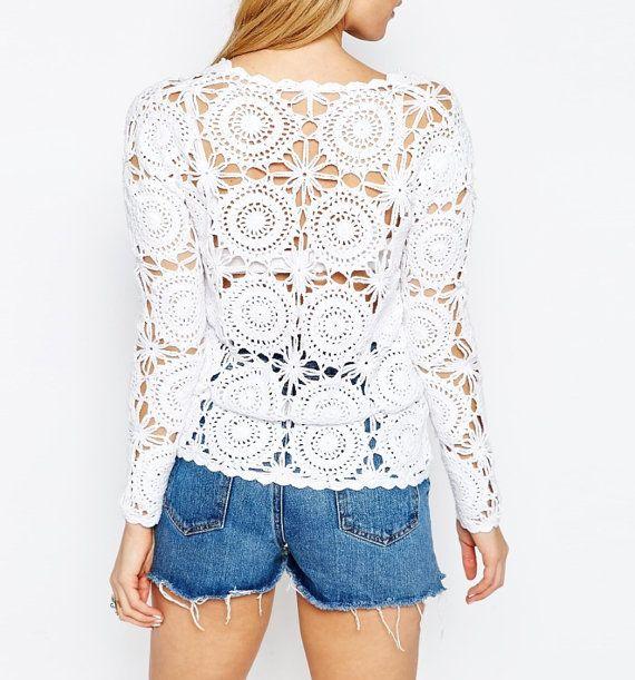 2019 Vintage Crochet Top Shrug Bolero Beach Cover Up Women Boho