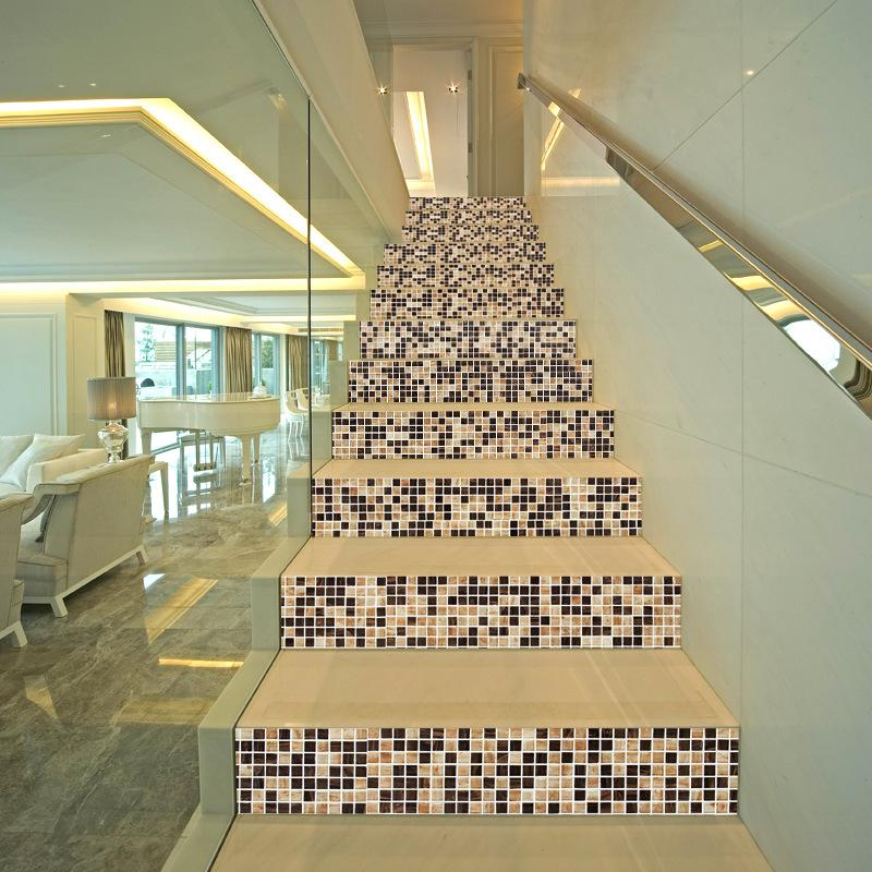 6pcs/set 3D Mosaic Square DIY Stairs Tiles Art Mural Walll Sticker Step Decoration Stairway Poster PVC Self-adhesive Wallpaper