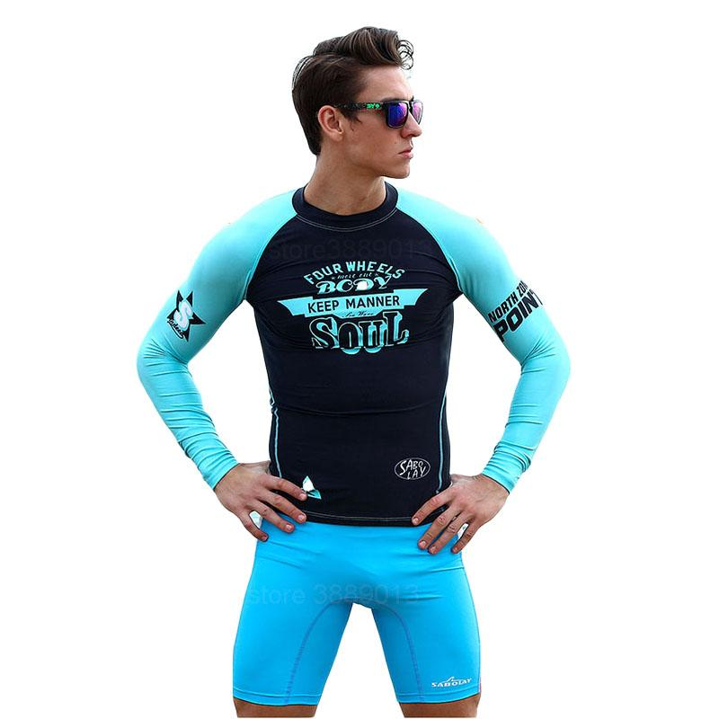 e5e1533bc6 SABOLAY UV Resistant Men's Surfing Suit Surf T Shirt Swimming Pants Tops  Scuba Diving Suits Watersport Swimwear Sports Swimsuits