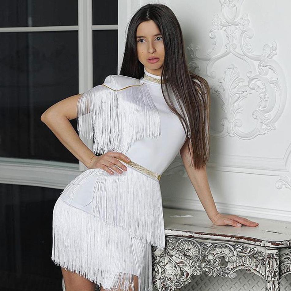 24dc33f6d Compre Venta Al Por Mayor 2018 Nuevo Verano Mujeres Celebrity Evening  Runway Vestido De Fiesta Sexy Rojo Blanco Borlas Borlas De Manga Corta  Vestido De Club ...
