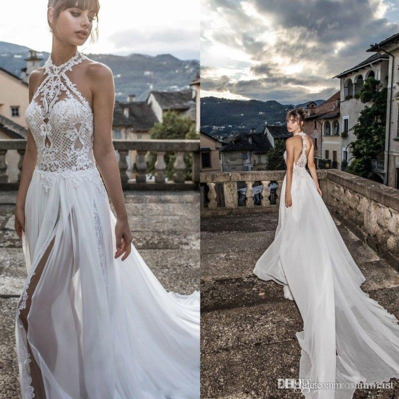 Julie Vino 2019 High Slits Wedding Dresses Bohemia Sexy Lace Appliqued Halter Jewel Neck Bridal Gowns Chiffon Beach Wedding Dress
