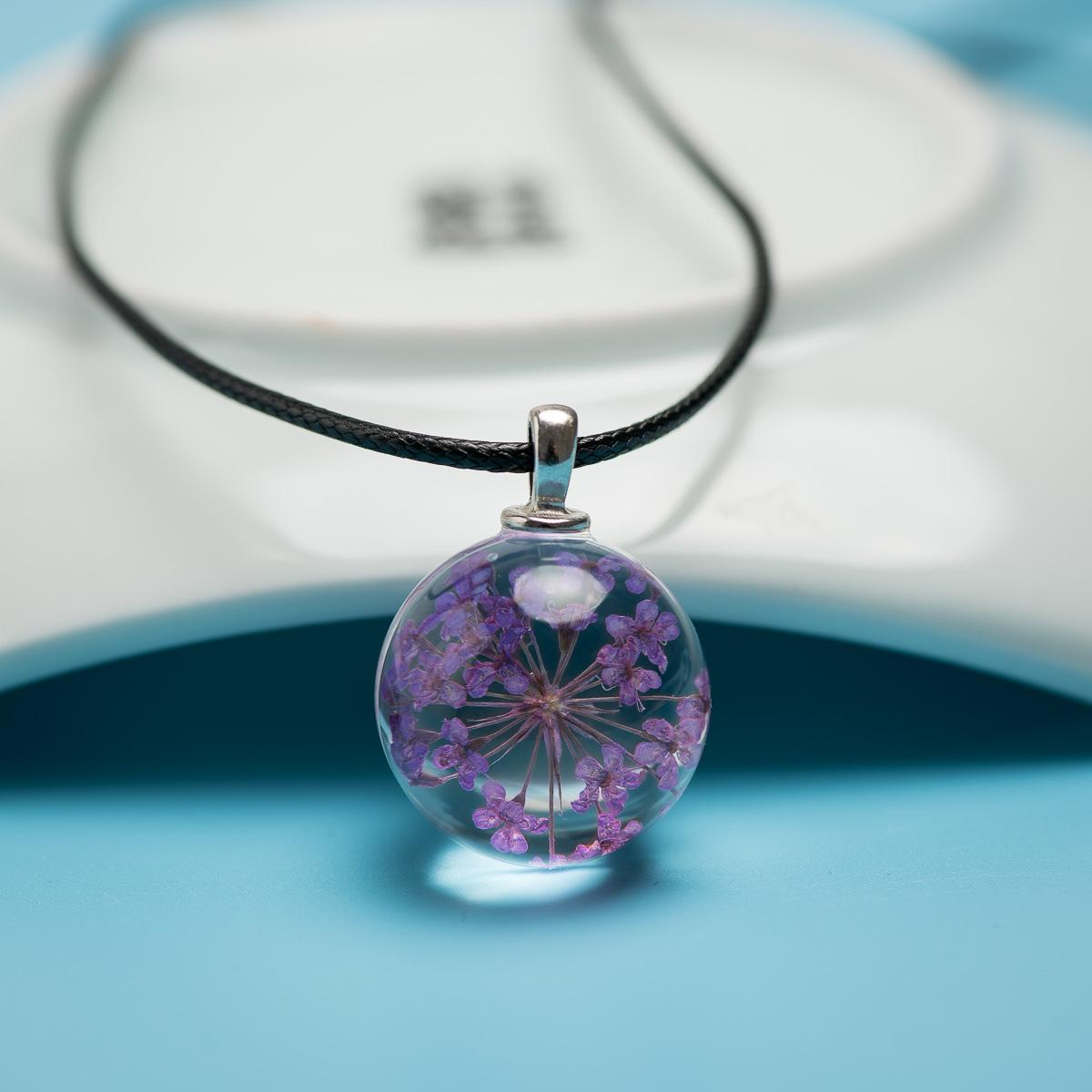 Natural Dried Flower Glass Ball Pendant long Rope Necklace with Ceramic Beads Drop shipping