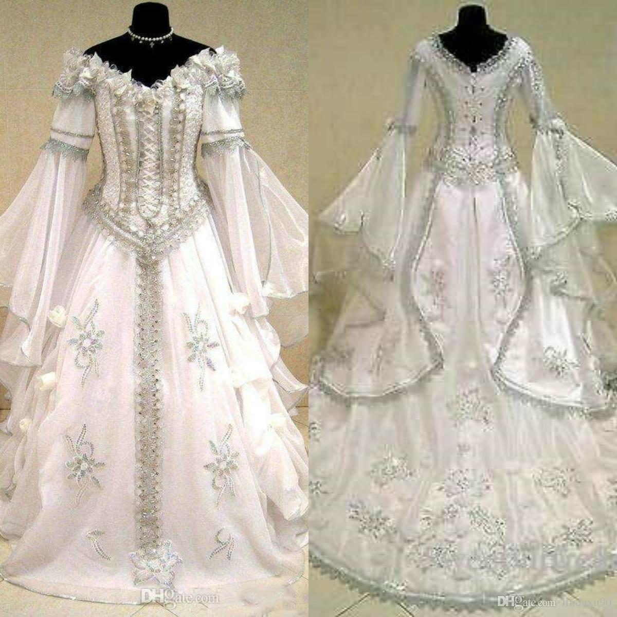 Medieval Wedding Dresses Witch Celtic Tudor Renaissance Costume Victorian Gothic Off The Shoulder Long Sleeve Wedding Dress Bridal Gowns