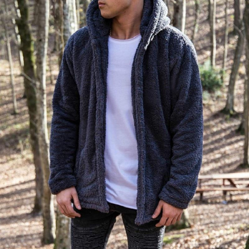 Grandwish Winter Thick Warm Fleece Hoodie Coat Mens Sportwear Dropshipping Chándal Hombres Fleece Bomber Cardigan chaqueta, ZA132