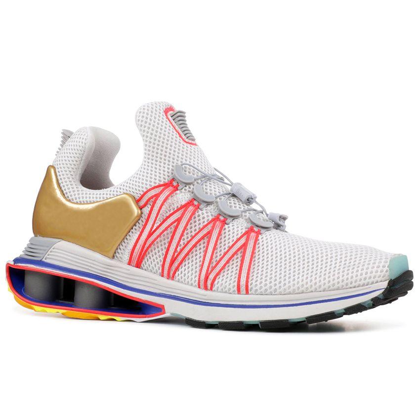 finest selection 9a649 765f6 Acheter Nike Shox Gravity Metallic Gold Hommes Chaussures De Course Triple  White Black Oreo Rose Bleu Womens Sports Walking Designer Sneakers 36 46 De  ...