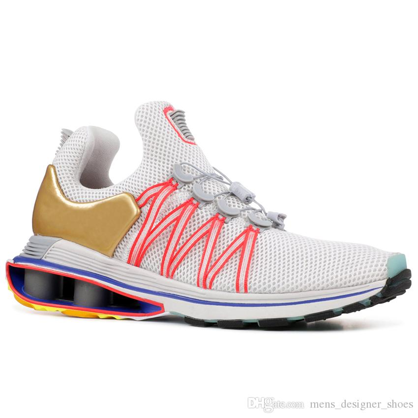 9da543dae7c 2019 Shox Gravity Metallic Gold Mens Running Shoes Triple White Black Oreo  Pink Blue Womens Sports Walking Designer Sneakers 36 46 From  Mens designer shoes