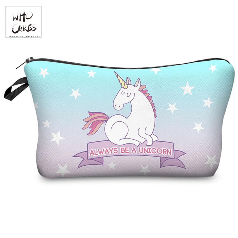 Who Cares printing Unicorn Makeup Bags Cosmetic Organizer Bag Cosmetics Pouchs For Travel Ladies Pouch Women Cosmetic Bag
