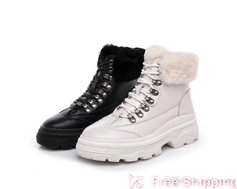 2019 Winter New Arrival Rabbit Hair Leather Fashion Women Ankle Boots All Black White Bottines for Snow Bottes High quality Size 35-39