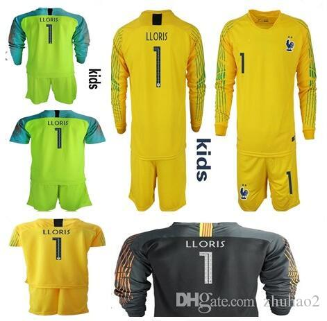 84efc4046 2019 2018 World Cup France 2 STAR KIDS Goalkeeper Jerseys  1 LLORIS Long  Sleeve Goalie T Shirt Kits KID Uniforms Children Goalkeeper Jerseys From  Zhuhao2