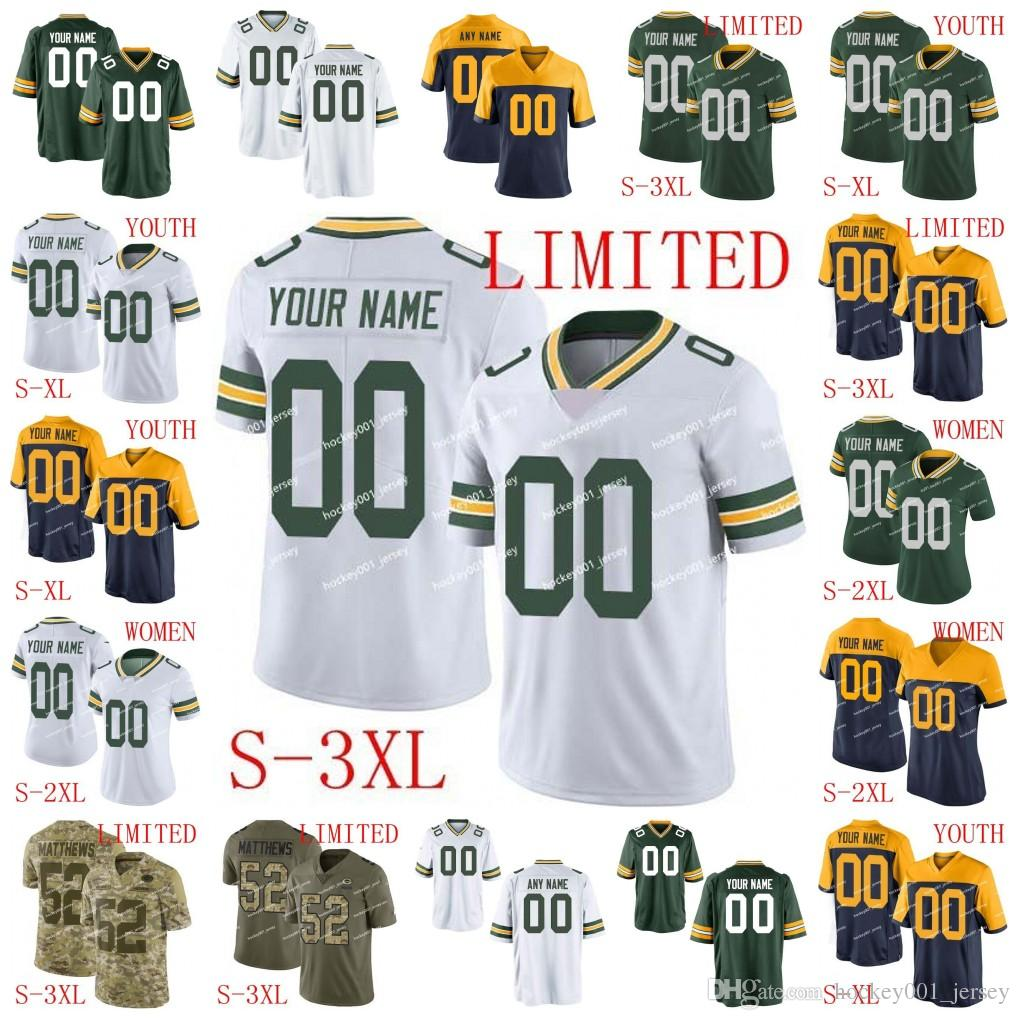info for c85e1 c1cca Custom Men Women Youth Green Bay Aaron Rodgers Jersey Packers Aaron Jones  Davante Adams Jaire Alexander Jimmy Graham Brett Favre football05