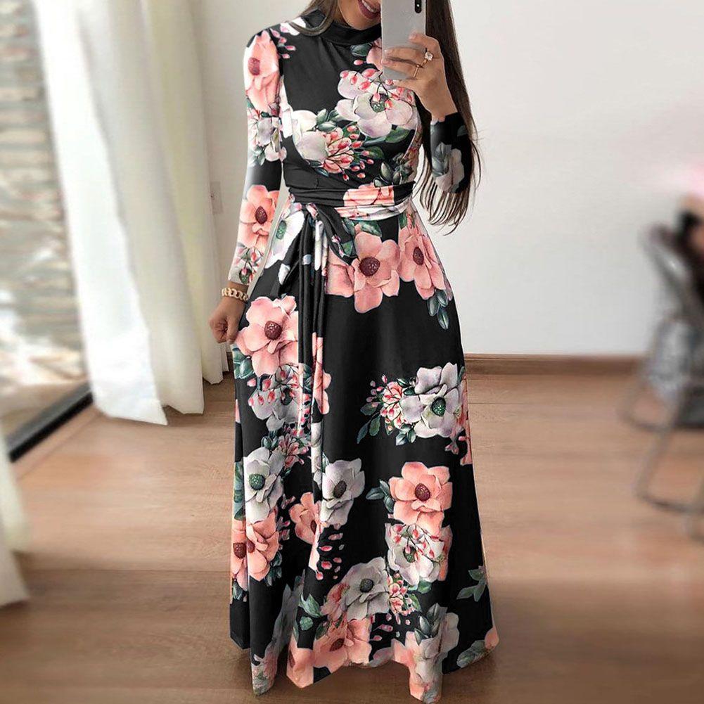 Boho Women Floral Maxi Dress Beach Evening Party Long Sleeve