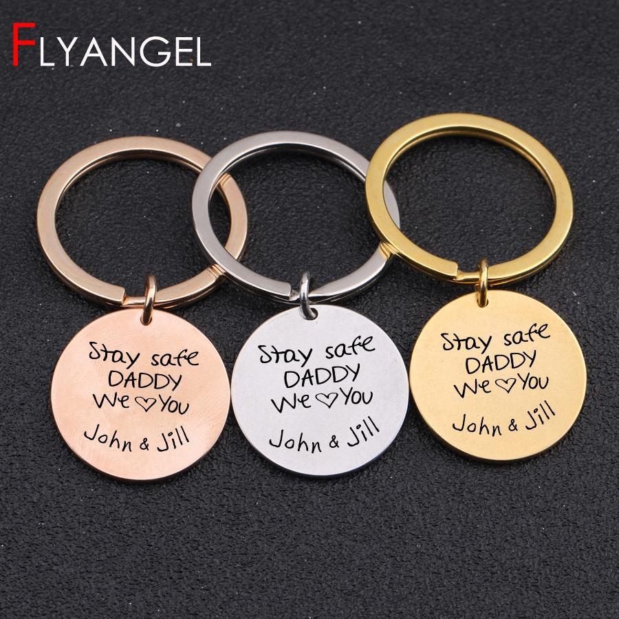 Name Customized Engraved Stay Safe Daddy We Love You Key Chains Gifts To Father'S Day Dad And Chidren Keys Holder Keyring Keytag Leather Key Holder Tritium ...