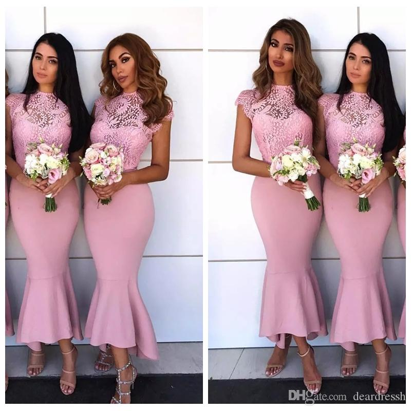 Jewel Lace Short Sleeves Slim Mermaid Bridemaids Dresses
