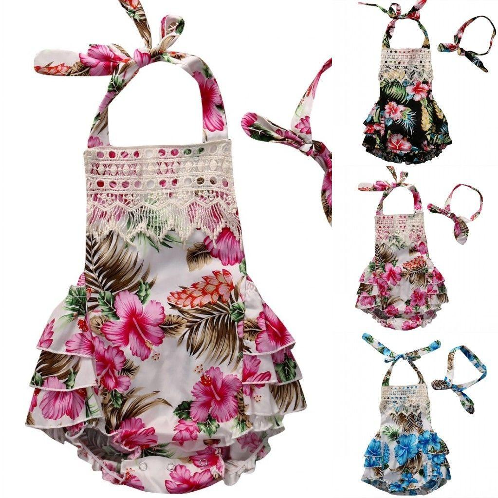 94883e48736 2019 2017 Floral Baby Girl Clothes Summer Sleeveless Flower Romper Bodysuit  Ruffles Halter Jumpsuit +Headband Outfits Sunsuit Y18120801 From  Shenping02