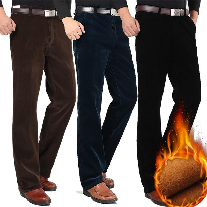 08bab47a Winter Men's Corduroy pants Plus Velvet Thick Section High waist Loose  Stretch Corduroy Casual pants Straight Warm trousers