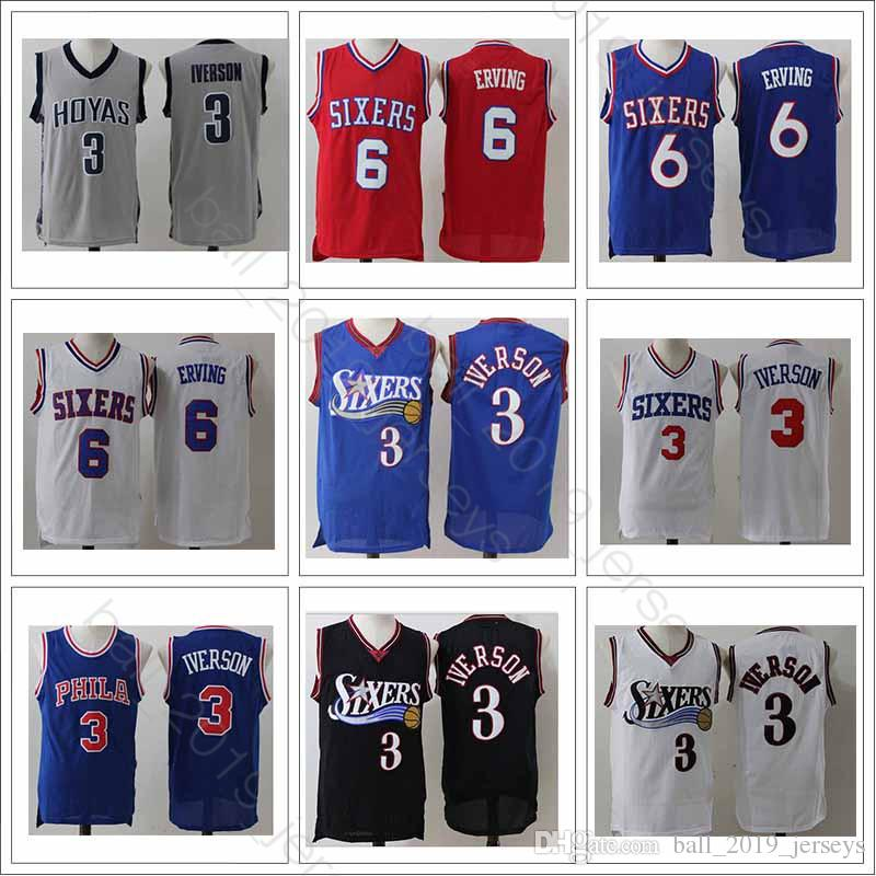 check out 26257 ad671 3 Iverson jersey Philadelphia 6 Erving 76ers Retro jersey 2019 men Hot sale  Popular high-quality basketball jerseys