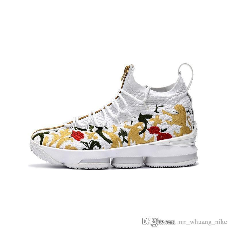 online store c3be7 a9120 Cheap Men lebron 15 low cut basketball shoes for sale white Floral Flower  boys girls youth kids sneaker tennis with box