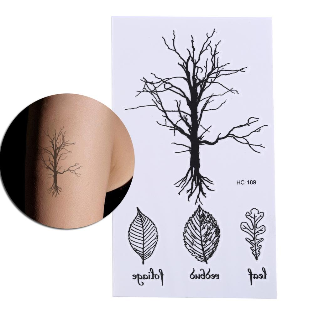 Vintage Black Tree Design Waterproof Temporary Fake Leave Tattoo Stickers Arm Leg Body Art Make Up Tool