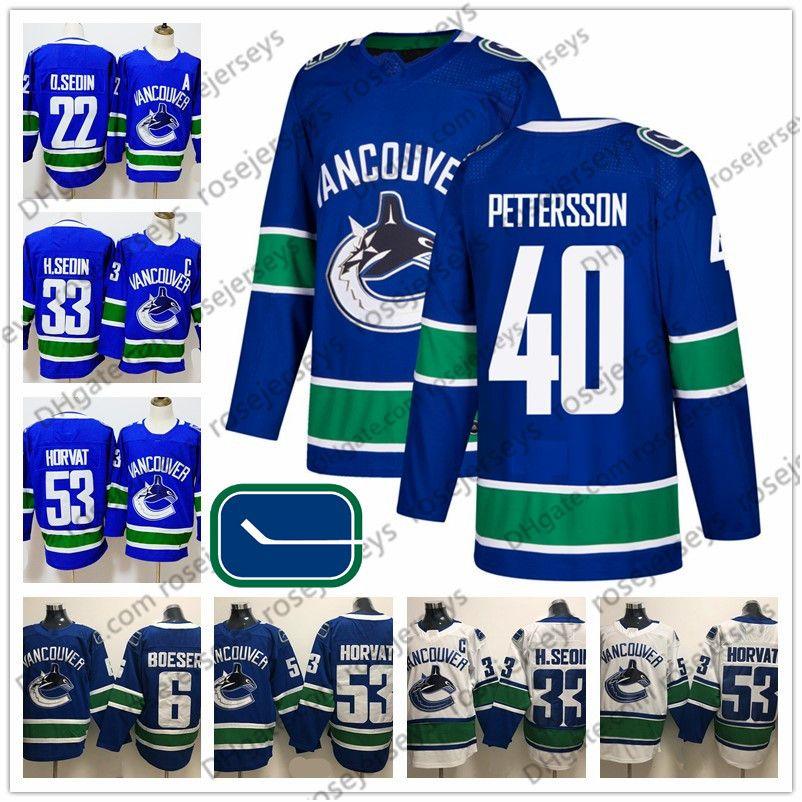 2019 Hot Sale Vancouver Canucks  40 Elias Pettersson Blue White Jerseys  53  Bo Horvat 6 Brock Boeser Daniel Sedin Henrik Men Youth Women Kid From ... d3cca0e07