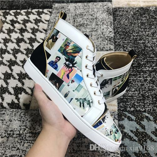 Italy Hot Brand Graffiti Paint Leather With Spikes Casual Shoes Women & Men Sneakers Fashion Luxury Red Bottom Shoes New-stylish Trainers