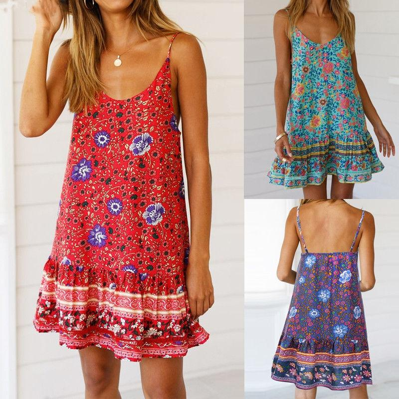 Summer Spring Women Floral Print Sleeveless Strappy Casual Party Vintage Gypsy Style Boho Loose Ladies Mini Dress Sundress